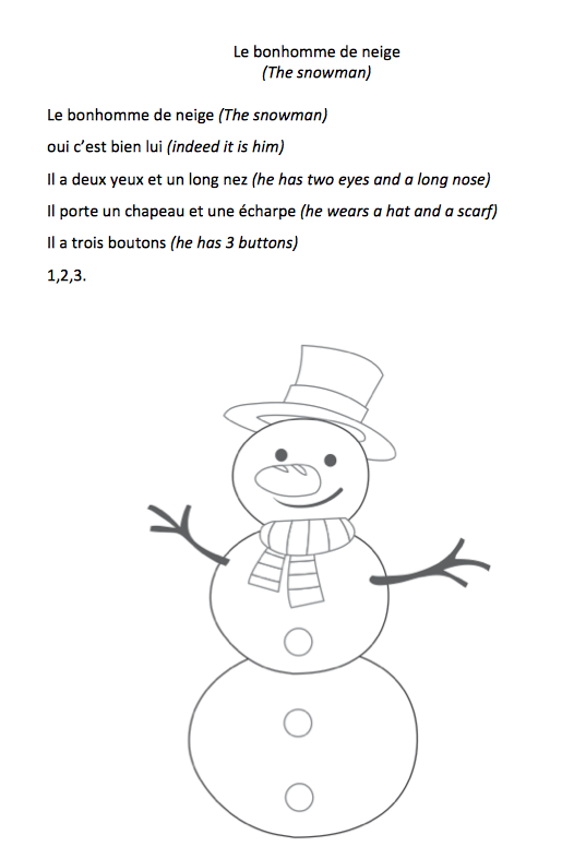 Le bonhomme de neige comptines pour jeunes apprenants de fle - Bonhomme de neige olaf ...